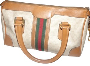 Gucci Doctor's Satchel in ivory & camel with wide red/green stripe