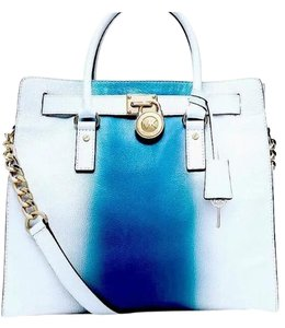 Michael Kors Tote in White/blue stripe