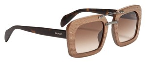 Prada BRAND NEW PRADA SPR30R RAW WOODEN BAROQUE SQUARE SUNGLASSES WITH TAGS & PRADA CASE