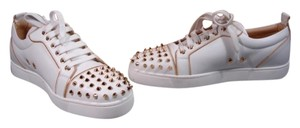 Christian Louboutin New Tags Ivory Leather & Low Top Sneakers Rubber Wedge Sole Fashion Sneakers Creamy White with Gold Athletic