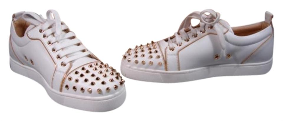 uk availability 232a3 0d237 Christian Louboutin Creamy White with Gold Rush Spike Leather Flats  Sneakers Size US 9.5 Regular (M, B) 29% off retail