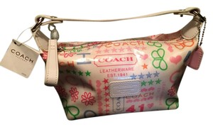 Coach White Multicolor Laminated Leather New With Tags Satchel in SV/Multicolor/White