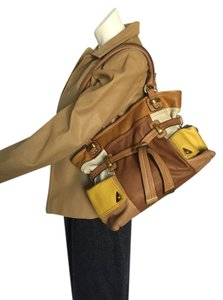 B. Makowsky Leather Satchel in Mulit. Brown, Yellow and Tan