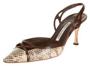 Manolo Blahnik Brown Snake Pumps