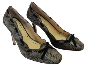 Randolph Duke New Size 5.50 M Very Good Condition Snake Skin Leather Gray, Black Pumps