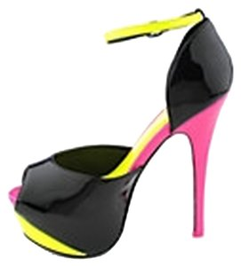 SK Collection Black/Yellow/Fuchsia Pumps