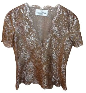Valentino Italy Metallic Lace Lined Top Gold