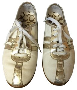 Coach Silver Leather Tie white Flats