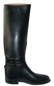 Aigle Equestrian Rubber Leather-like Riding Rain Made In France Samur Black Boots