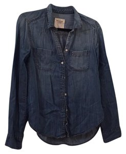 Abercrombie & Fitch Denim Button Button Down Shirt Blue