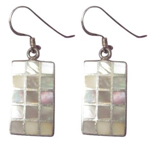 Sterling Silver Mother of Pearl MOP Earrings Drop Dangle Tiled Rectangle --Superb!