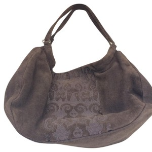 Adrienne Vittadini Suede Purse Pockets Dust Satchel in brown