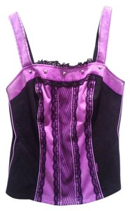 Tripp Nyc Corset Studded Lace Trim Top purple and black