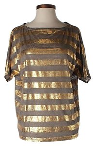 Alice + Olivia Linen Metallic Striped Top Gold