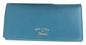 Gucci Gucci Blue Swing Leather Continental Wallet w/Trademark 354498 4618