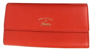 Gucci Orange Swing Leather Continental Wallet w/Trademark 354496 6516