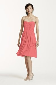 David's Bridal Coral Reef Short Crinkle Chiffon Dress With Front Cascade F14847 Dress