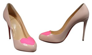 Christian Louboutin Rounded Point Toe Nude & Pink Pumps
