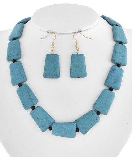 Other Gold Tone Turquoise Stone Black Glass Crystal Necklace & Earrings