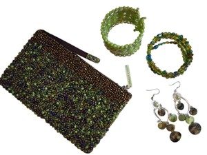green beaded clutch lot
