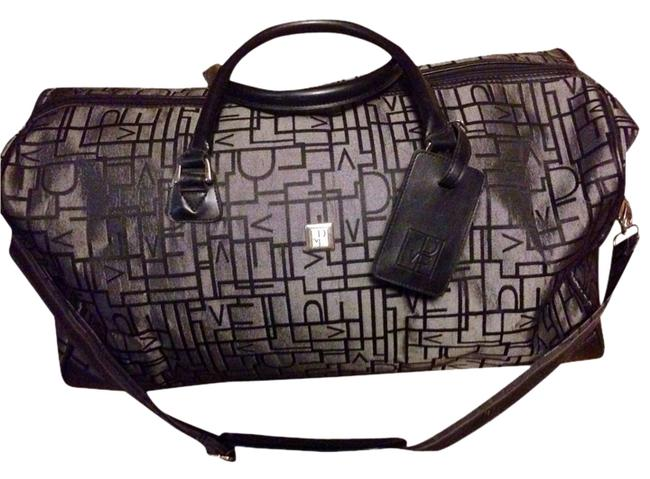 Item - Duffle Large Grey/Black Canvas/ Faux Leather Weekend/Travel Bag