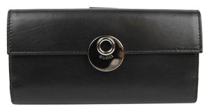 Gucci New Gucci Black Leather Eclipse Clutch Continental Wallet 231835 1000