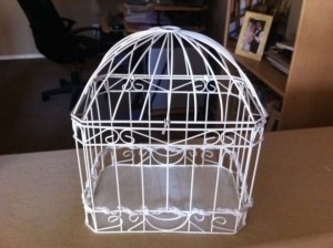 David's Bridal White Bird Cage Card Holder Reception Decoration