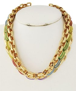 Gold Tone Metal Multi Color Acrylic Necklace & Earrings