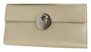 Gucci Light Gold Leather Eclipse Clutch Continental Wallet 231835 9504