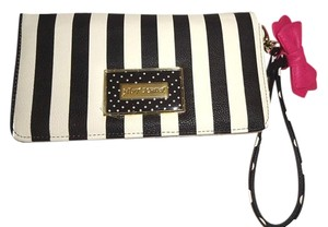 Betsey Johnson Multi compartment black/bone stripe wallet/wristlet