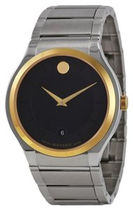 Movado Black Dial Two Tone Silver and Gold Stainless Steel Designer MENS Dress Watch