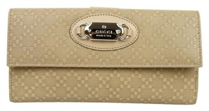 Gucci New Gucci Beige Diamante Leather Clutch Continental Wallet w/Plaque 231841 9909