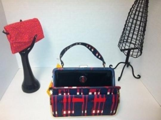Tory Burch Leather Handbag Satchel in Red, Blue, White