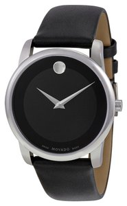 Movado Black Dial Silver tone Stainless Steel with Black Leather Strap Designer MENS Dress Watch