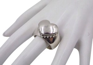 Lagos size, 7, sterling silver, heart shaped, fashion, statement ring