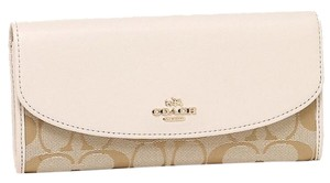 Coach COACH 12CM Signature Slim Envelop Wallet Clutch Chalk white 53617