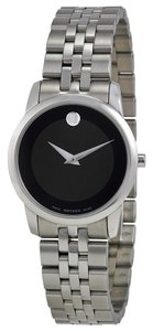Movado Black Dial Silver tone Stainless Steel Designer Ladies Dress Watch