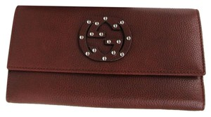 Gucci Burgundy Leather Interlocking G Clutch Continental Wallet 231843 6316