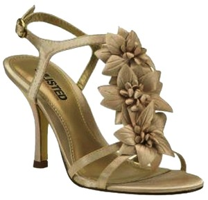 Kenneth Cole Strappy Sandals Embellished Kitten Heel Women Sz 8 gold Pumps