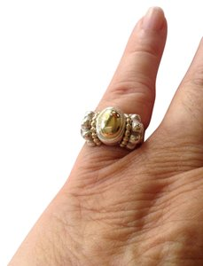 Lagos Lagos Caviar, size 7.5, sterling silver, 18k yellow gold ring