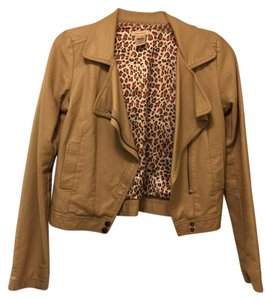 Phanuel Faux Leather Nude Leather Jacket