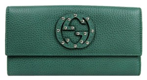 Gucci New Gucci Green Leather Interlocking G Clutch Wallet w/Coin Pocket 231843 3125