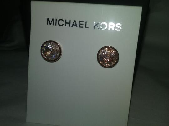 Michael Kors SET-Rose Gold-Tone Long Station Necklace & Rose Gold Tone Earrings