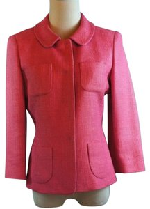 Talbots Collection Blazer Snap Front Linen Blend Pink Jacket