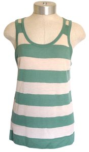 Marc Jacobs Beige Striped Cashmere Top Green