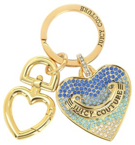 Juicy Couture BLUE PAVE HEART KEY FOB Key Ring Key Chain Purse Charm