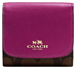 Coach Signature Slim Trifold Wallet clutch Saddle brown NWT COACH 53837
