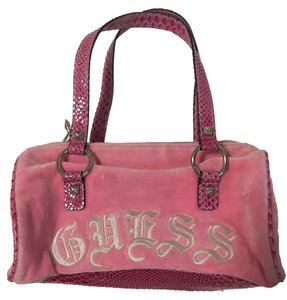 Guess Velour Magenta Small Satchel in Pink