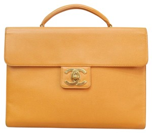 Chanel Caviar Leather Briefcase Yellow Tote in orange