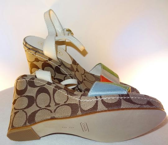 Coach White Leather Strap Angkle Strap Summer Fashion Multi colors Wedges